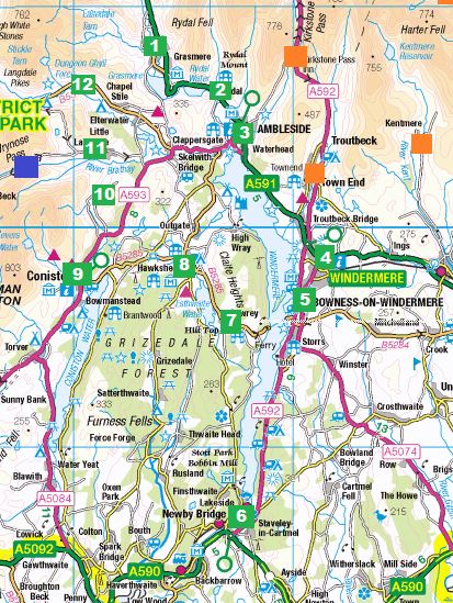 map of south lake district Lakes Dictionary Area Search Lake District South Bowness map of south lake district